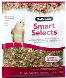 ZuPreem Smart Selects Cockatiel & Lovebird Bird Food 2.5lb bag