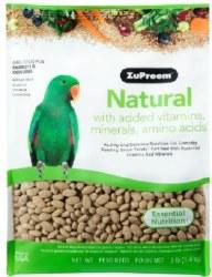 ZuPreem Natural with Vitamins Minerals & Amino Acids Parrot & Conure Bird Food 3lb bag