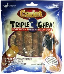 Cadet Pork Hide, Sweet Potato & Duck Triple 3 Chew Dog Treats 6 count
