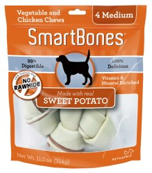 Smartbones Sweet Potato Flovored 4 pack Medium Rawhide Free Dog Chews