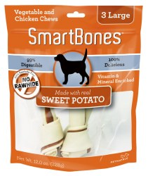 Smartbones Sweet Potato Flovored 3 pack Large Rawhide Free Dog Chews