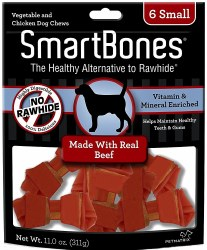 SmartBones Rawhide Free Beef Flavored Dog Chews Small 6 Pack