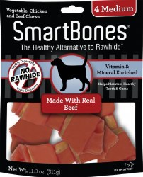 SmartBones Rawhide Free Beef Flavored Dog Chews Medium 4 Pack