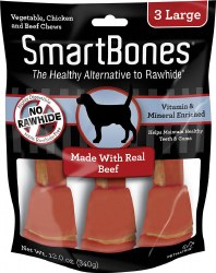 SmartBones Rawhide Free Beef Flavored Dog Chews Large 3 Pack