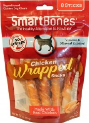 Smartbones Chicken Wrapped Sticks 8 Pack Rawhide Free Dog Chews