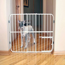 Carlson 24 Inch Tall Expandable Metal Gate 26-42 Inch With Door Beige