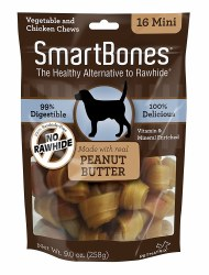 Smartbones Peanut Butter Mini 16 Pack Rawhide Free Dog Chews