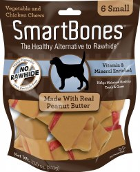 Smartbones Peanut Butter Small 6 Pack Rawhide Free Dog Chews