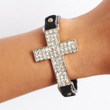 Bracelet Silver Crystal Cross