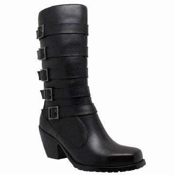 Ladies 5 Buckle Boot Black