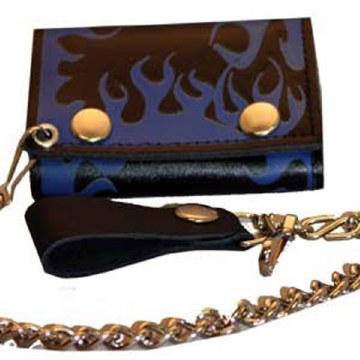 Blue Flame Trifold W/Chain
