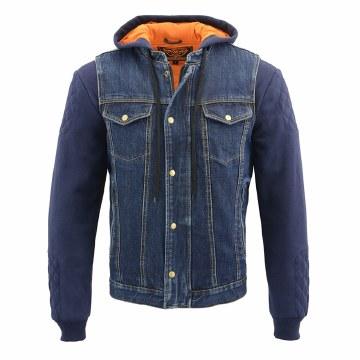 Men's Hooded Denim Vest Blue