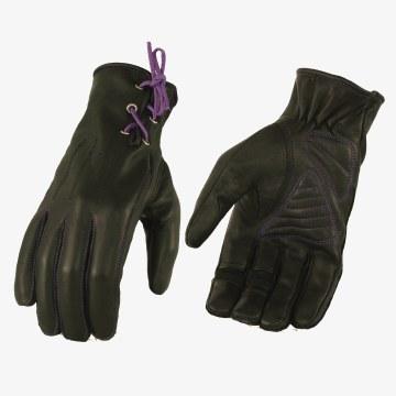 Ladies Gloves Black W/Purple