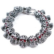 SS Skull Bracelet W/Ruby Eyes