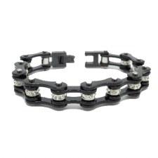 Black Link Bracelet W/Cl Stone