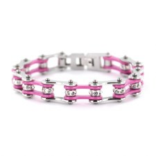 Link Bracelet With Pink Stones