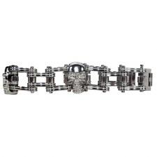 SS Link Bracelet W/3 Skulls