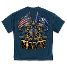 Double Flag Eagle Navy Shield