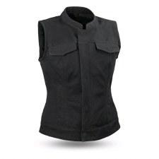 Ladies Canvas Vest Black