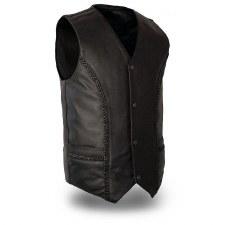 Men's Ruffian Braided Vest Bk