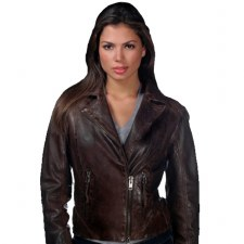 Ladies Off Set Jacket Mahogany