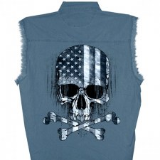 Men's SL Denim Shirt Flag Skul