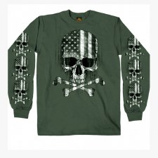Men's :LS T-Shirt Flag Skull