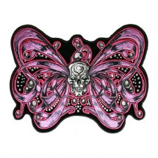 "Bow Skull Patch Pink  8""x7"""