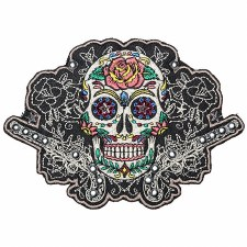 Patch Sugar Skull W/Guns