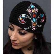 Knit Headband Bling FleurDeLis
