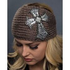 Knit Headband Bling CrossBrown