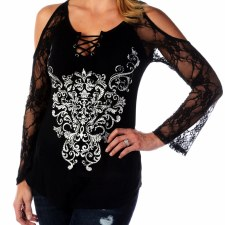 Ladies LS Bohemain Lace Scroll