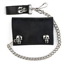 Tri-Fold Wallet W/Skull Snaps