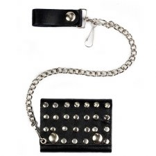 Studded Tri-Fold Chain Wallet