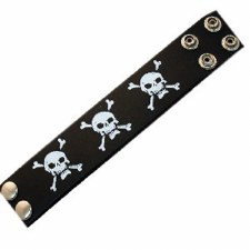 BLK Leather Skull Wristband