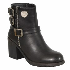 Ladies 3 Buckle PVC Boot Black
