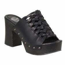 Ladies Wedge Sandal PCV Blk