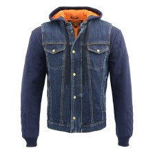 Men's Hooded Denim Vest Blue