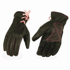 Ladies Gloves Black W/Pink