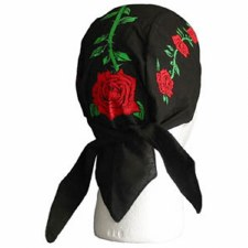 Red Roses On Black Headwrap