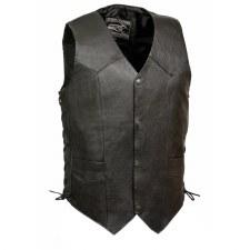 Men's Leather Vest W/Laces Blk
