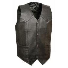 Men's Plain Leather Vest Black