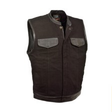 Men's Denim/Leather Club Vest