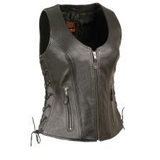 Ladies Side Lace Vest Black