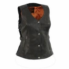 Ladies Fringe Vest Black