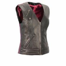 Ladies Front Zipper Vest Bk/Pp