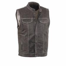 Men's Open Neck Vest Grey