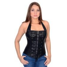 Zipper Front Corset Black