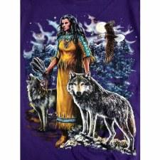 Girl/Eagle/Wolf On Purple