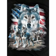 Wolf With Flag